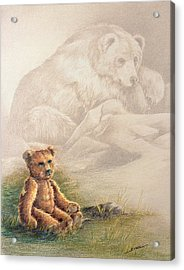 Acrylic Print featuring the drawing Tattered Bear by Judi Quelland