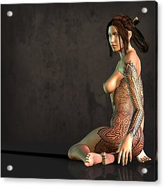 Tattooed Nude Acrylic Print by Kaylee Mason
