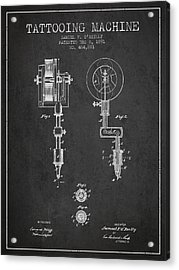 Tattooing Machine Patent From 1891 - Charcoal Acrylic Print by Aged Pixel