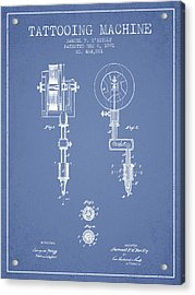 Tattooing Machine Patent From 1891 - Light Blue Acrylic Print by Aged Pixel