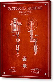 Tattooing Machine Patent From 1891 - Red Acrylic Print by Aged Pixel