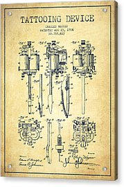Tattooing Machine Patent From 1904 - Vintage Acrylic Print by Aged Pixel