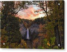 Taughannock Falls Autumn Sunset Acrylic Print