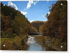 Acrylic Print featuring the photograph Taughannock Lower Falls Ithaca New York by Paul Ge