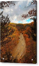 Acrylic Print featuring the painting Taughannock River Canyon In Colorful Fall Ithaca New York IIi by Paul Ge