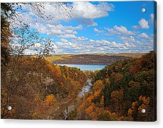 Acrylic Print featuring the painting Taughannock River Canyon In Colorful Fall Ithaca New York Iv by Paul Ge