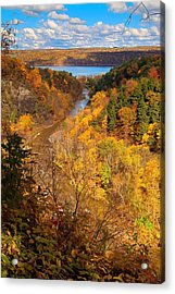 Acrylic Print featuring the photograph Taughannock River Canyon In Colorful Fall Ithaca New York by Paul Ge
