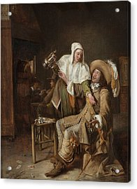 Tavern Scene With Maid Trying To Fill The Glass Of A Cavalier Acrylic Print by Pieter de Hooch