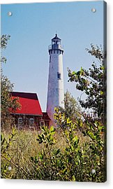 Tawas Point Lighthouse...from Tawas Bay Side Acrylic Print by Daniel Thompson