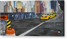 Taxi 9 Nyc Under Construction Acrylic Print
