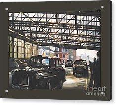 Taxi-waterloo. Acrylic Print by Caroline Beaumont