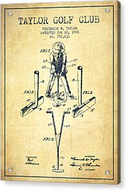Taylor Golf Club Patent Drawing From 1905 - Vintage Acrylic Print by Aged Pixel