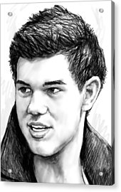 Taylor-lautner Art Drawing Sketch Portrait Acrylic Print