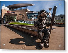 T.c. Statue And Target Field Acrylic Print by Tom Gort