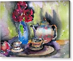Tea And Flowers Acrylic Print