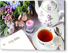Tea And Scripture Acrylic Print by Pattie Calfy