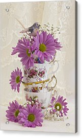 Tea Cups And Daisies  Acrylic Print