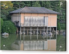Tea House Reflections Acrylic Print by Bill Mock