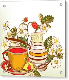 Tea Or Coffee Vector Background With Acrylic Print
