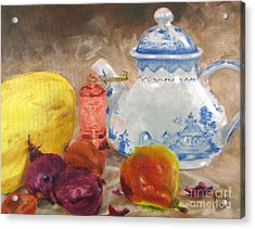 Tea Pot And Spice Grinder Acrylic Print