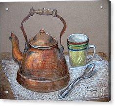 Acrylic Print featuring the drawing Tea Pot by Patricia Januszkiewicz