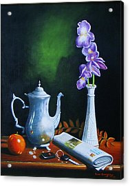 Tea Pot With Iris Acrylic Print by Gene Gregory
