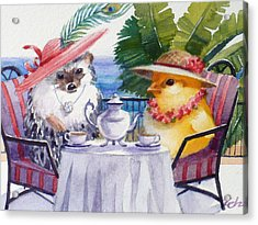 Tea Time For A Baby Chick And Hedgehog Acrylic Print