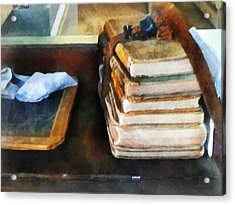 Teacher - Old School Books And Slate Acrylic Print by Susan Savad