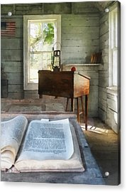 Teacher - One Room Schoolhouse With Book Acrylic Print by Susan Savad