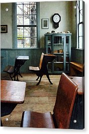 Teacher - One Room Schoolhouse With Clock Acrylic Print by Susan Savad