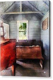 Teacher - One Room Schoolhouse With Hurricane Lamp Acrylic Print by Susan Savad