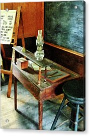 Teacher - Teacher's Desk With Hurricane Lamp Acrylic Print by Susan Savad