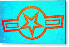 Teal And Rust Fighter Star Acrylic Print by Holly Blunkall
