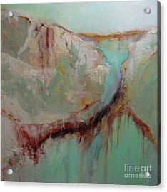 Teal Cascade Acrylic Print by Virginia Dauth