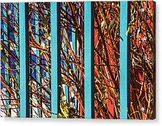 Teal Fence Acrylic Print by Raymond Kunst