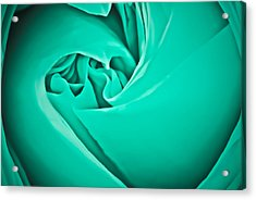 Acrylic Print featuring the photograph Teal Rose-duvet Cover by  Onyonet  Photo Studios