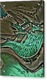 Teal Steel Digital Guitar Art By Steven Langston Acrylic Print by Steven Lebron Langston