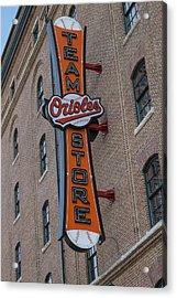 Team Orioles Store Sign Acrylic Print by Susan Candelario