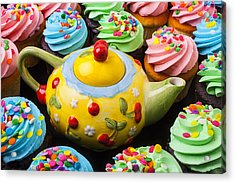 Teapot And Cupcakes  Acrylic Print by Garry Gay