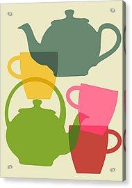 Teapot And Teacups Acrylic Print by Ramneek Narang