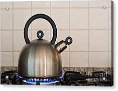Teapot On Gas Stove Burner Acrylic Print