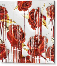 Tear-stained Roses Acrylic Print by Liane Wright