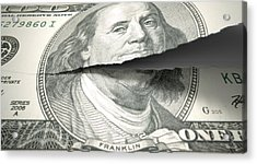 Tearing American Dollar Acrylic Print