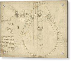 Teaseling Machine From Atlantic Codex Acrylic Print by Leonardo Da Vinci