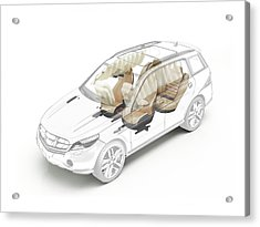Technical Drawing Of Car Seats And Airbags Acrylic Print by Leonello Calvetti/science Photo Library