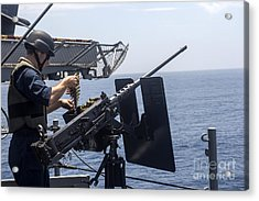 Technician Loads A .50-caliber Machine Acrylic Print by Stocktrek Images