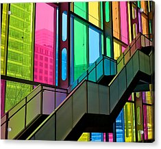 Acrylic Print featuring the photograph Technicolour Stairway by Trever Miller