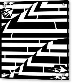 Techthonic Zig-zag Maze  Acrylic Print by Yonatan Frimer Maze Artist