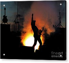 Ted Nugent On Fire Acrylic Print