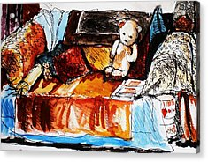 Ted On The Sofa Acrylic Print by Anne Parker